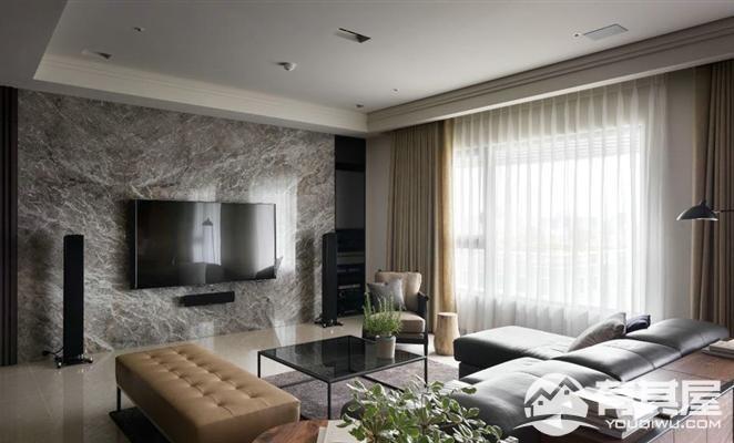 浦湾公馆三室两厅家装现代装修设计效果图
