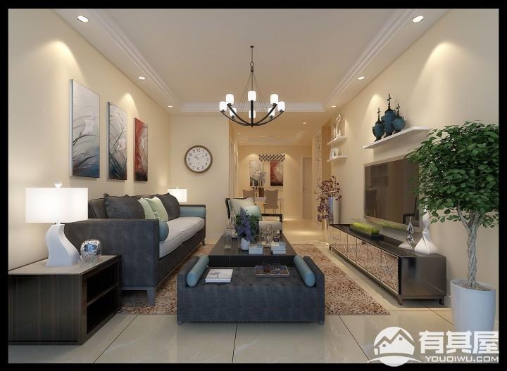 姑苏尚城三室两厅家装现代风格设计效果图欣赏