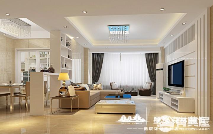 尚美花城三室两厅家装简约装修设计效果图欣赏