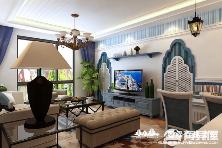 泉水湾二期两居室地中海装修设计效果图欣赏