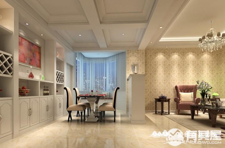 联帮广场两居室家装简欧风格设计效果图欣赏