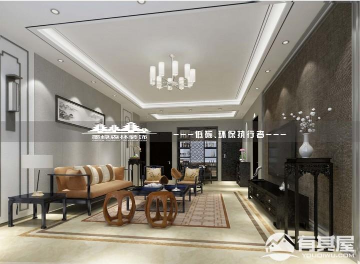 尚美花城三室两厅家装新中式风格设计效果图