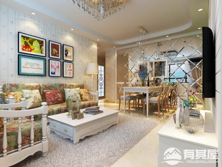 南海雅苑三室两厅韩式田园风格设计效果图欣赏