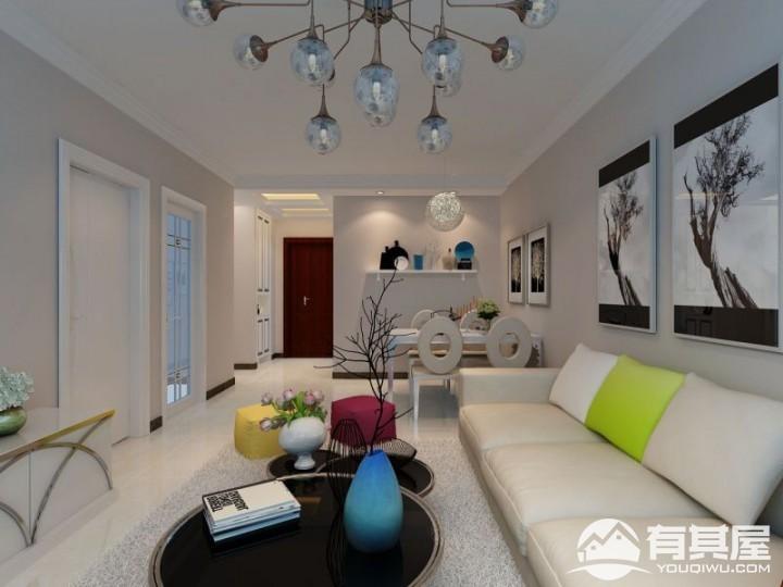 潮白河孔雀城两居室小户型现代风格设计效果图