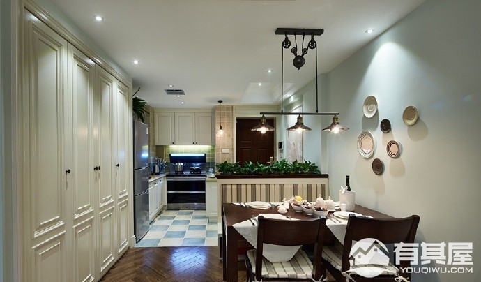三室两厅家装美式风格设计效果图