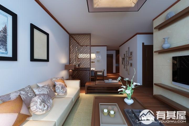 两居室小户型新中式风格设计效果图