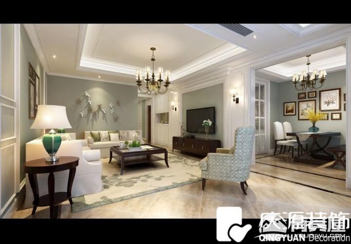 中梁首府三室两厅家装田园风格设计效果图精品案例赏析