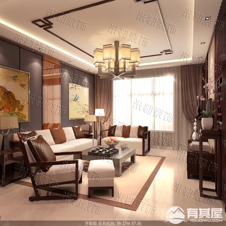 大学里三室两厅家装新中式风格设计效果图