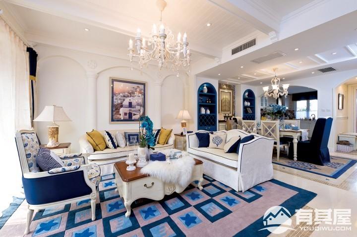 香江风景三室两厅地中海风格设计效果图欣赏