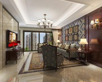 保利西江林语美式古典风复式楼装修图1