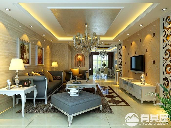 龙潜城三室两厅古典装修效果图案例欣赏
