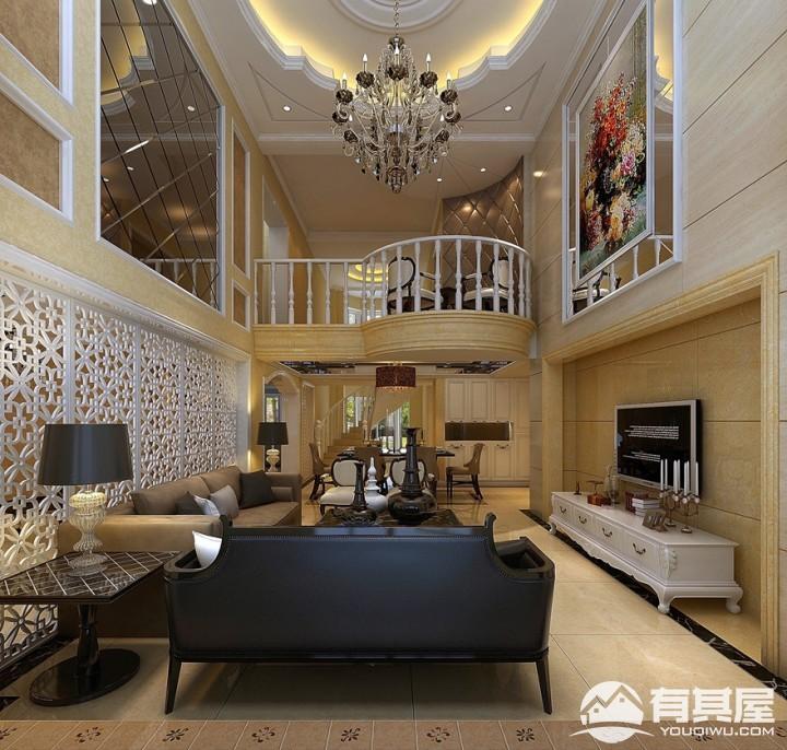 江北国汇山复式楼田园风格设计效果图欣赏