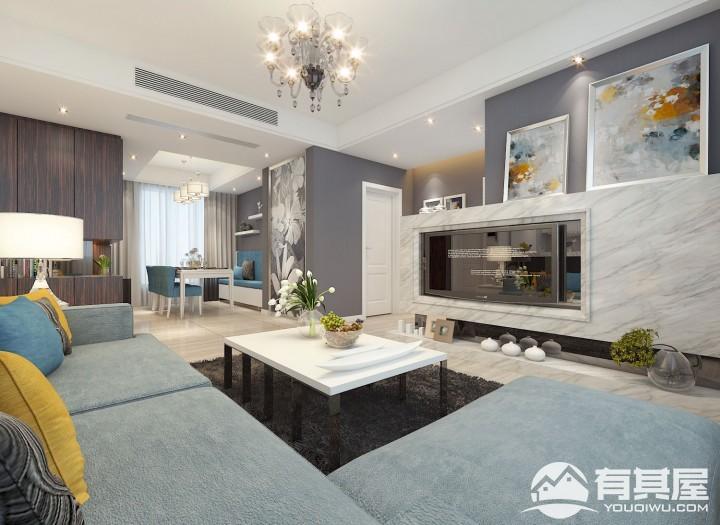 汇景新城四室两厅家装美式风格设计效果图案例欣赏