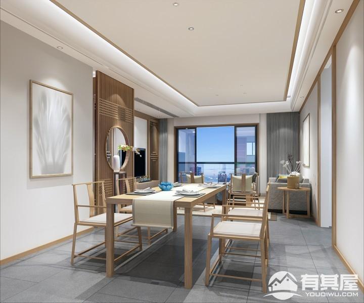 三盛国际公园四居室新中式装修设计图