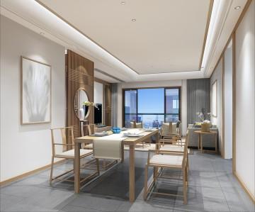 三盛国际公园四居室新中式装修设计图5