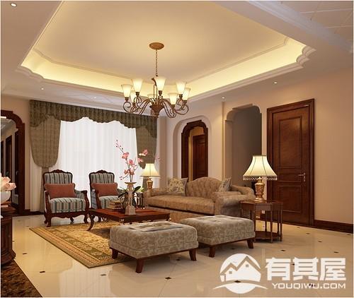 融侨悦府花园三室两厅中式风格设计效果图欣赏