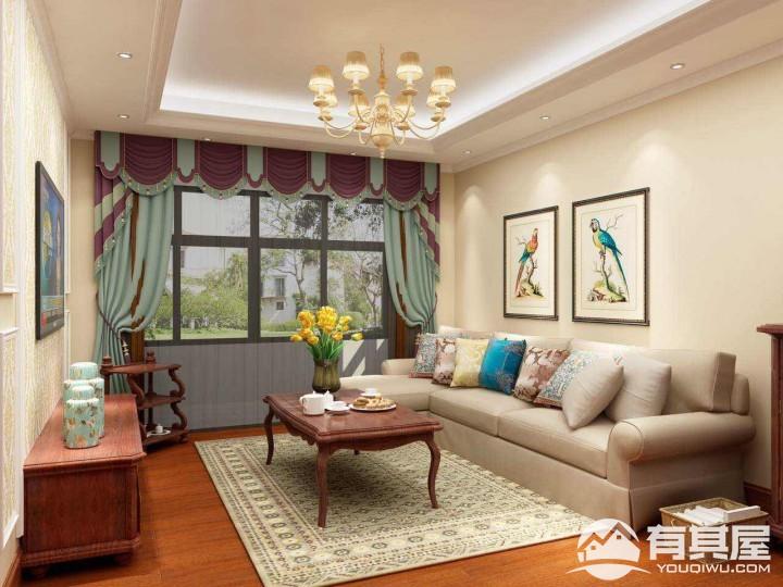 光明一号两居室小户型全木式简欧风格设计效果图