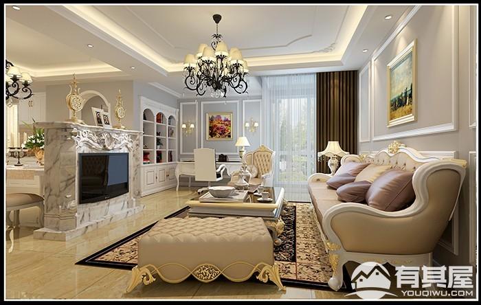 东方名城三室两厅简欧风格装修设计效果图欣赏