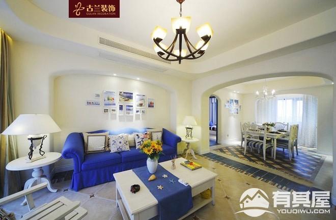 世茂外滩新城三室两厅地中海装修设计效果图欣赏