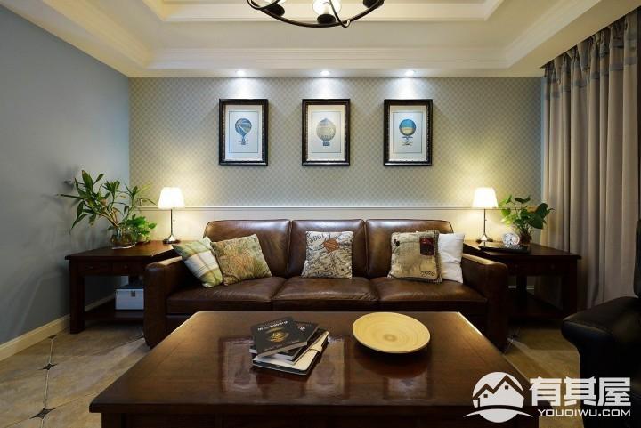 禹州中央海岸美式风格三居室装修效果图