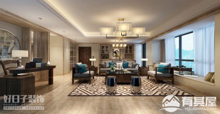 蔚蓝国际四室两厅家装中式风格设计效果图欣赏