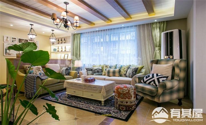 金地湖城大境四居室200平美式田园风格装修设计效果图案例分享