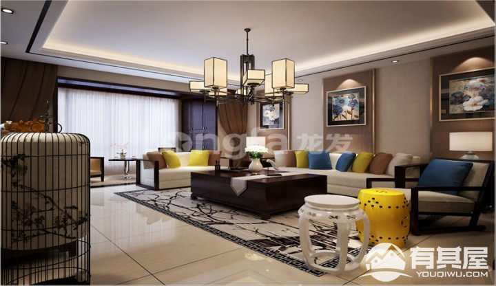 中华世纪城三居室140平美式风格装修设计效果图案例分享