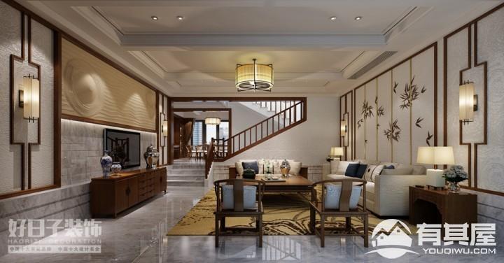 将军楼独立别墅中式风格设计效果图案例欣赏