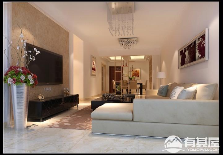 观湖半岛三室两厅家装现代简约风格设计效果图欣赏