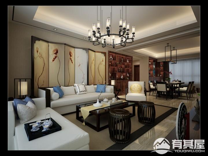 逸翠园三居室140平新中式风格装修设计效果图案例分享