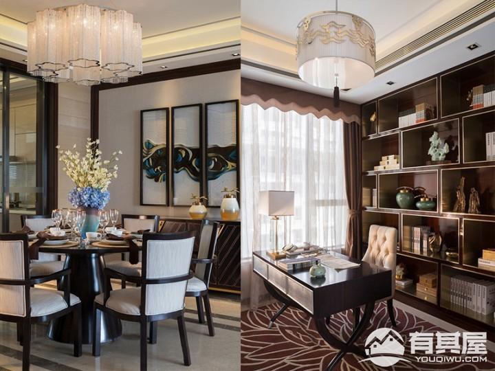 三室两厅家装新中式风格设计效果图案例欣赏