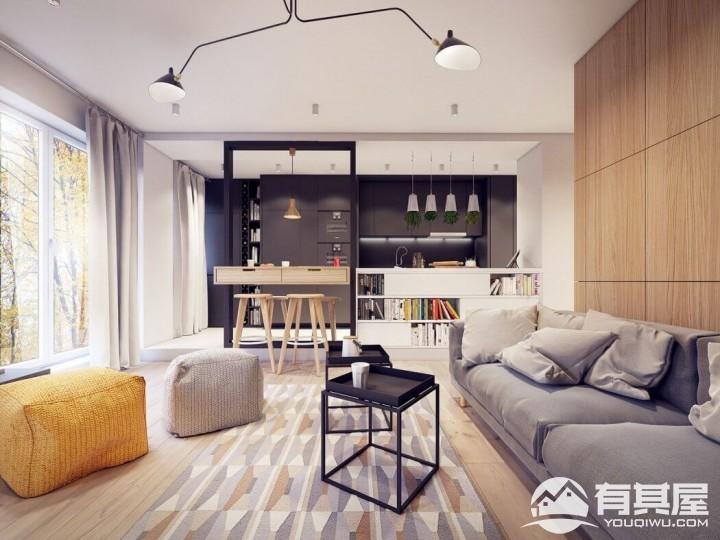 署光新城三室两厅家装北欧风格设计效果图