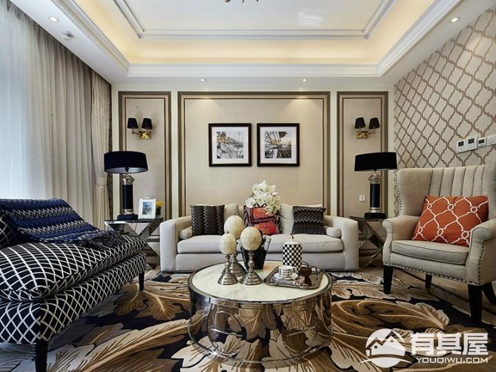 朗基天香三室两厅简欧装修设计效果图