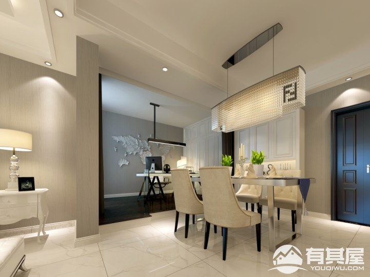 保利百合现代简约风格二居室装修效果图