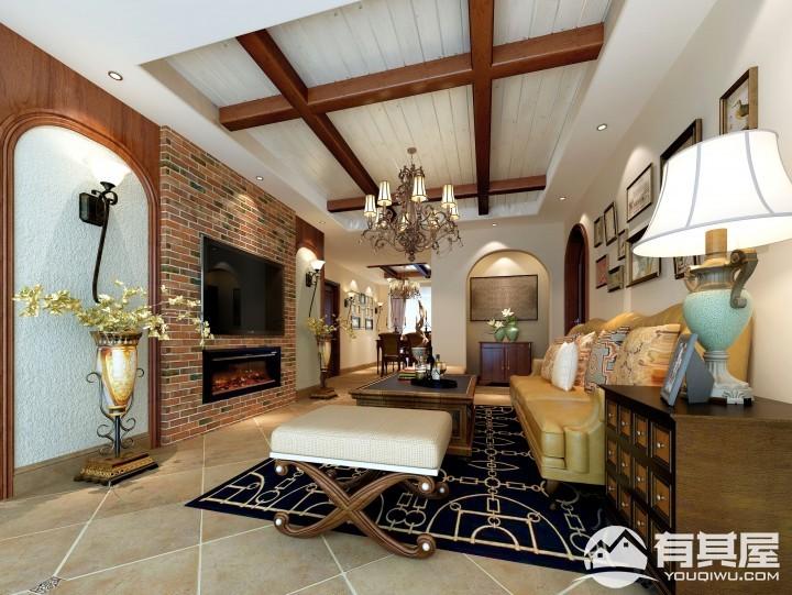 艾水清园美式乡村风格二居室装修设计