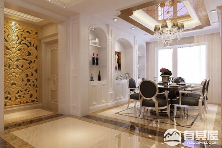 远洋天地三室两厅家装简欧风格设计效果图案例欣赏