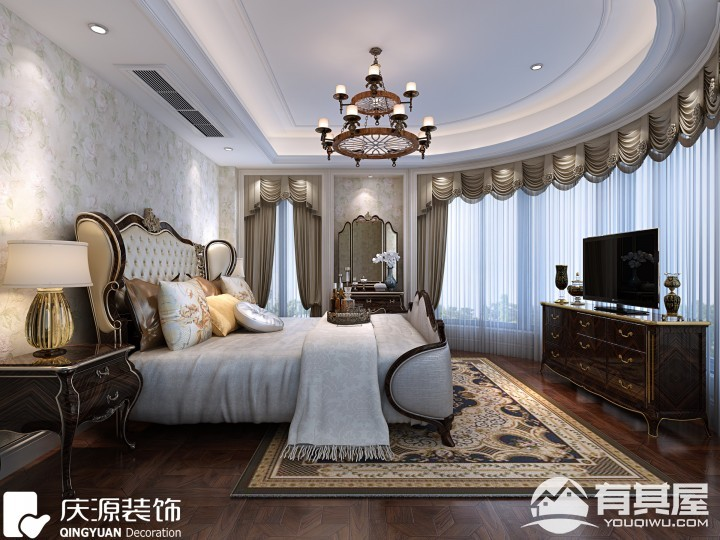 外滩首府四室一厅美式风格设计效果图精品案例赏析
