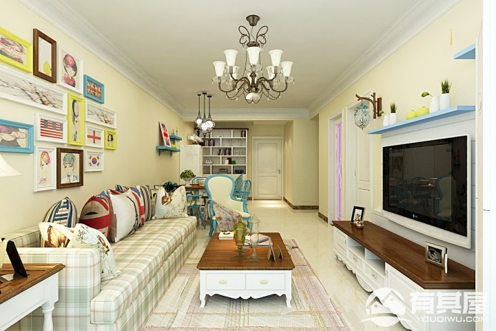 瀚唐90平米二居室美式装修风格图片