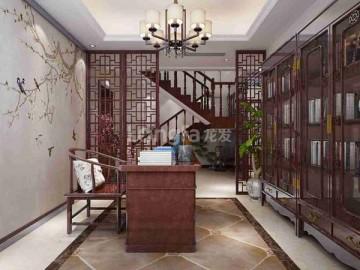 紫御华府复式楼中式风格装修设计效果图案例分享