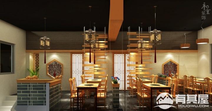 于海明火锅店装修设计效果图案例欣赏