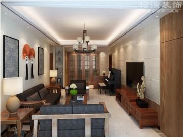 中港悦蓉府118平两室两厅现代中式风格设计效果图
