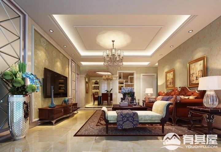 紫苑小区简约美式风三居室装修效果图