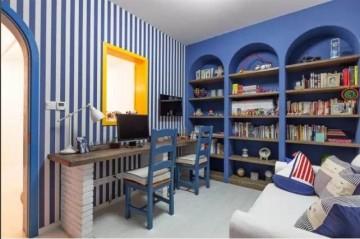 蓝白相间希腊地中海风格小户型装修图片