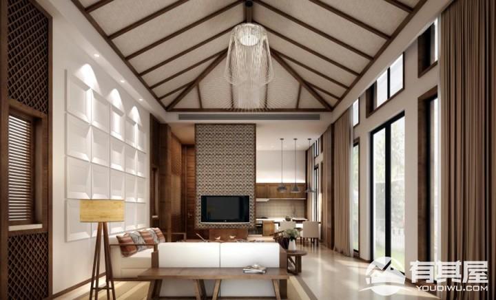 海峡现代城新中式风格别墅效果图