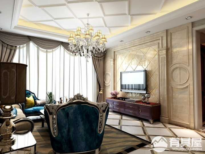 东方今典博雅欧式风格三居室装修设计