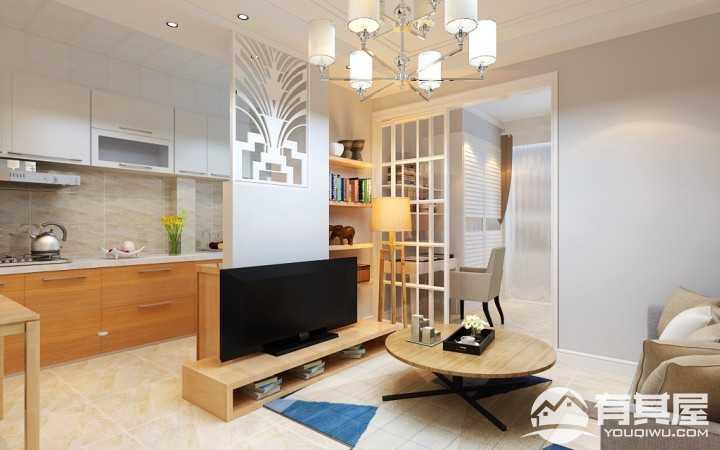 翠湖天地现代简约风格二居室装修效果图