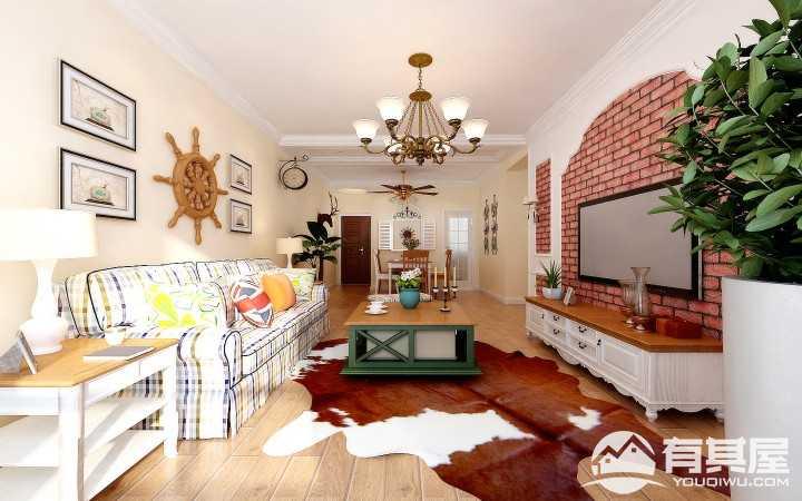 华润橡树湾田园风格三居室装修案例