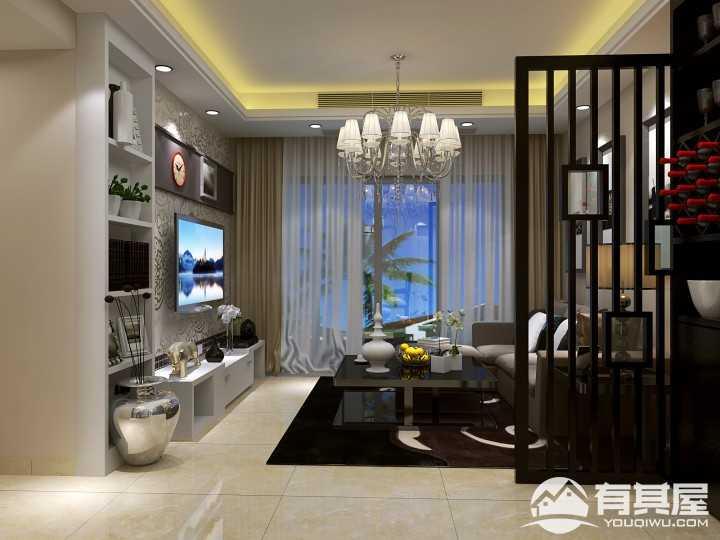 未来荟公寓三居室新中式装修风格案例