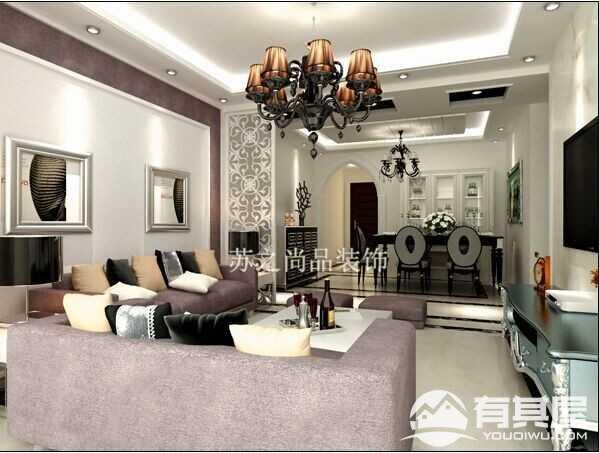 尚乐城现代简约风格两房装修效果图