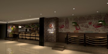 热亚披萨店面大门设计方案效果图